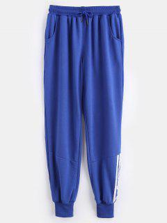 Striped Panel Sporty Pants - Blueberry Blue Xl