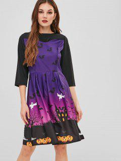 Une Ligne Robe Imprimée Halloween - Multi Xl