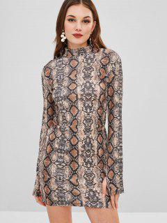 Long Sleeve Snake Print Mini Dress - Multi L