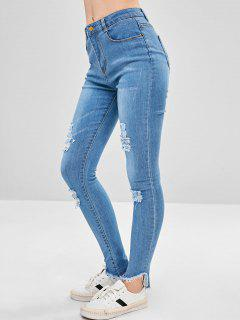 Destroyed Frayed Hem Skinny Jeans - Light Blue L