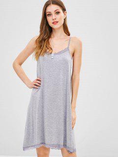 Lace Hem Buttons Cami Dress - Gray Xl
