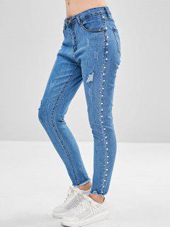Jeans Sin Dobladillo Con Cuentas Crudas - Azul Denim M