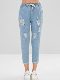 Letter Embroidered Cuffed Ripped Jeans - Jeans Blue L