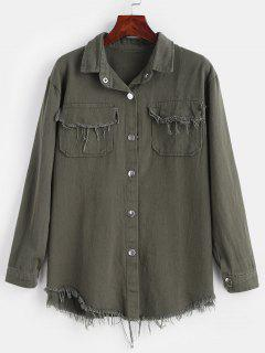 Frayed Snap Button Shirt Jacket - Camouflage Green