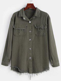 Veste De Chemise Boutonnée Effilée - Vert Camouflage
