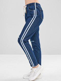 Drawstring Side Striped Ripped Jeans - Denim Dark Blue L