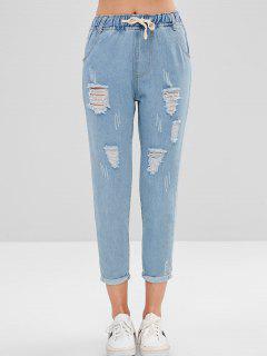 Mit Buchstaben Bestickte, Zerrissene Jeans - Jeans Blau M