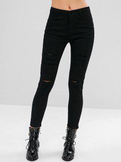 Jeans Ajustados Elásticos Rasgados - Negro S