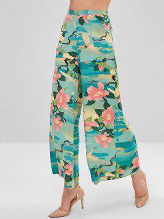 Pantalon Floral Zip Latéral à Jambe Large - Multi S