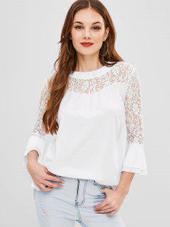 Lace Splicing Flare Sleeves Blouse - White L