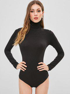 Long Sleeve High Collar Snap Crotch Bodysuit - Black S