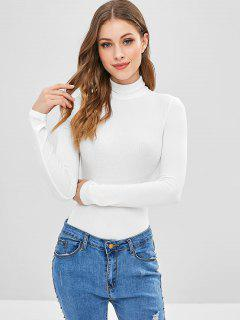 Long Sleeve High Collar Snap Crotch Bodysuit - White M