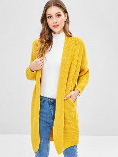 Open Knit Batwing Sleeve Long Cardigan - Golden Brown