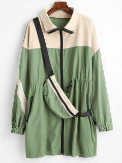 Oversized Trench Coat With Belt Bag - Dark Sea Green