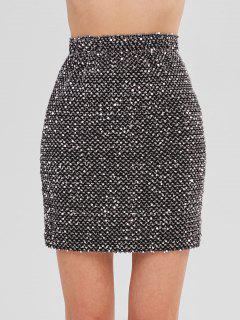 Stretchy Sequined Mini Skirt - Black L