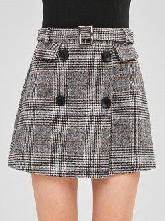 A Line Belted Plaid Skirt - Multi L