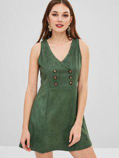 ZAFUL Plunge A Line Short Dress - Dark Green S