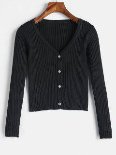 V Neck Button Up Cropped Ribbed Cardigan - Black
