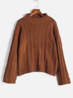 Drop Shoulder Wide Ribbed Boxy Sweater - Brown