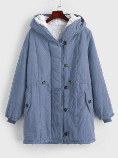 Faux Fur Lined Winter Parka Coat - Blue Gray Xl
