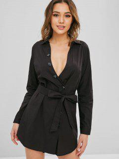 ZAFUL Button Up Belted Casual Dress - Black L