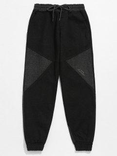 Contrast Patchwork Drawstring Jogger Pants - Gray Xl