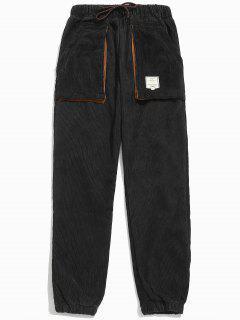 Retro Corduroy Beam Feet Pants - Black S