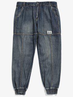 Zipper Fly Stitch Harem Jeans - Denim Dark Blue Xl