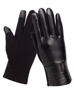 Unique Square Bucket Faux Leather Biker Gloves - Black
