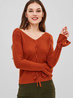 Suéter De Encaje Con Cuello En V Y Manga Atada - Marrón Claro