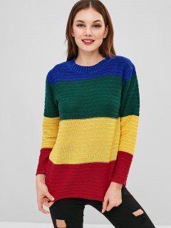 Pull Tunique Multicolore En Blocs De Couleurs - Multi
