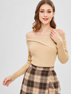 Ribbed Off Shoulder Sweater - Tan