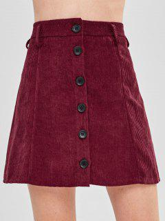 Button-up Corduroy Skirt - Maroon M