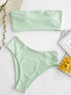 High Cut Bandeau Bathing Suit - Mint Green L