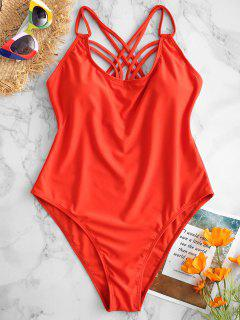 ZAFUL Strappy Criss Cross Maillot De Bain - Orange Vif S