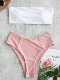 High Cut Two Tone Bandeau Bikini Set - Pig Pink L