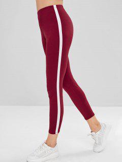 Stripe Trim Leggings - Red Wine M