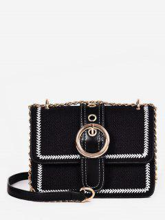 Magnet Snap Hoop Decoration Crossbody Bag - Black