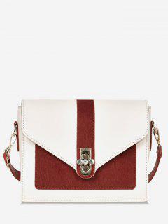 Round Rhinestone Shape Color Block Crossbody Bag - Lava Red