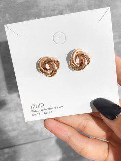 Minimalist Spiral Design Stud Earrings - Gold