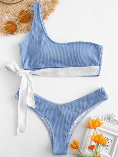 ZAFUL - Bikini-Set Mit Gerippter Krawatte - Himmelblau L