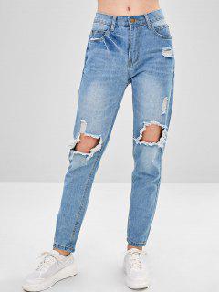 Destroyed Boyfriend Jeans - Light Blue L