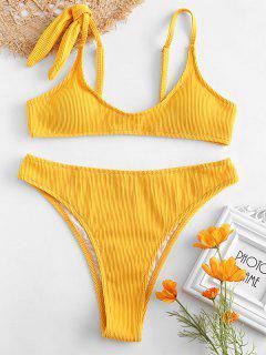 ZAFUL - Strukturiertes, Geripptes Bikini-Set Mit Hoher Taille - Sonne Gelb L
