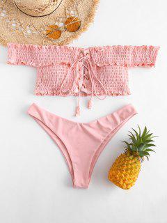 ZAFUL Shirred Lace-up Off The Shoulder Bikini - Pig Pink M