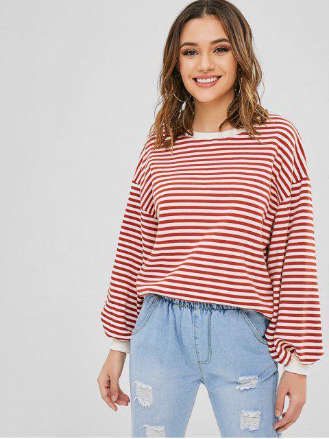 hot Striped Blouson Sleeve Oversized Sweater - MULTI ONE SIZE Mobile