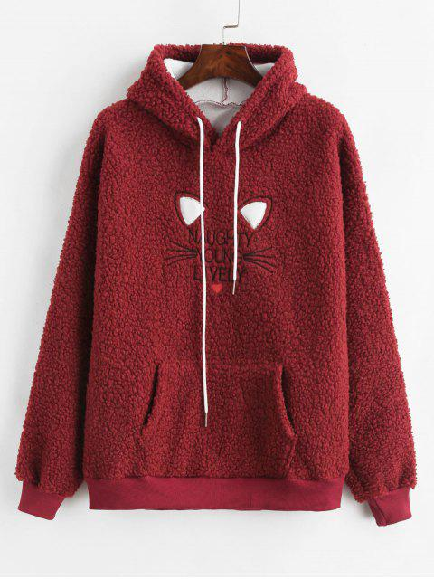 Bolsillo delantero Fleece Fluffy Hoodie - Vino Tinto M Mobile