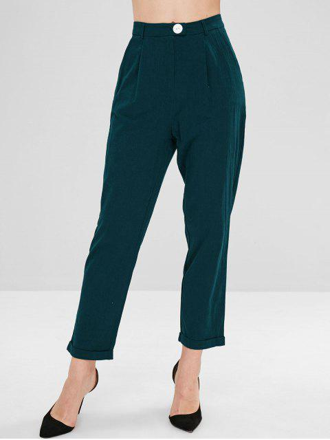 shops High Waisted Turn Up Cuffs Tapered Pants - GREENISH BLUE S Mobile
