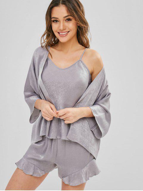 sale Cami Flounce Pajamas Set with Robe - CLOUDY GRAY ONE SIZE Mobile