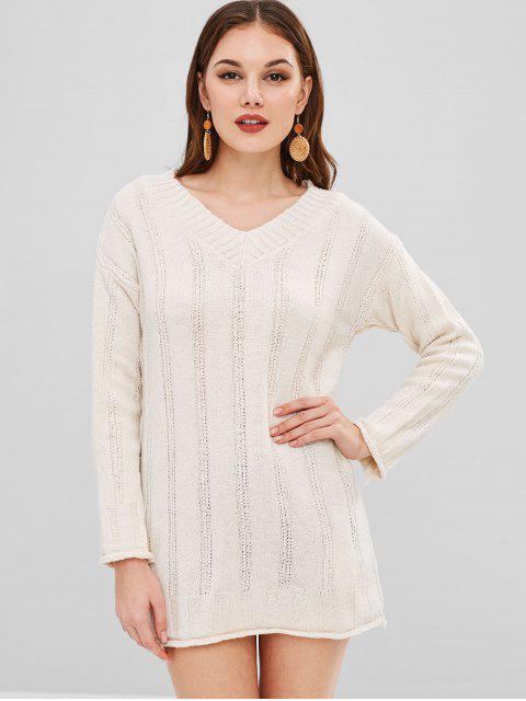 latest Short V Neck Sweater Knit Dress - WARM WHITE ONE SIZE Mobile