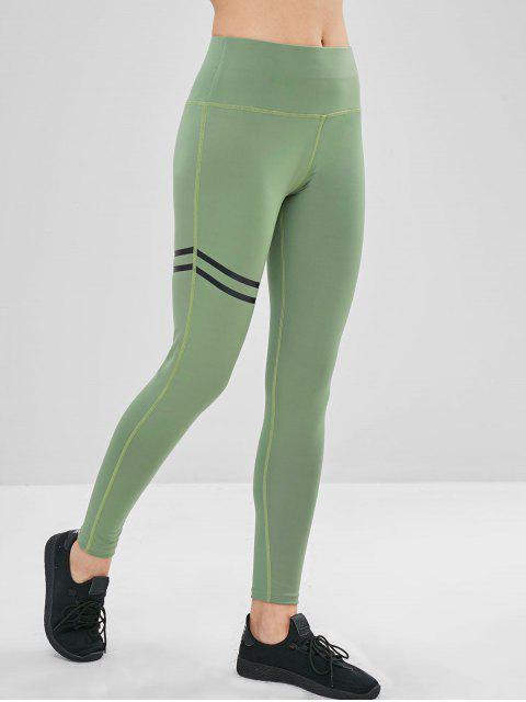 sale High Waisted Stripes Panel Leggings - DARK SEA GREEN M Mobile